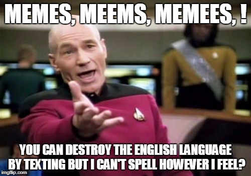 Go Meme Yourself! | MEMES, MEEMS, MEMEES, ! YOU CAN DESTROY THE ENGLISH LANGUAGE BY TEXTING BUT I CAN'T SPELL HOWEVER I FEEL? | image tagged in memes,picard wtf | made w/ Imgflip meme maker