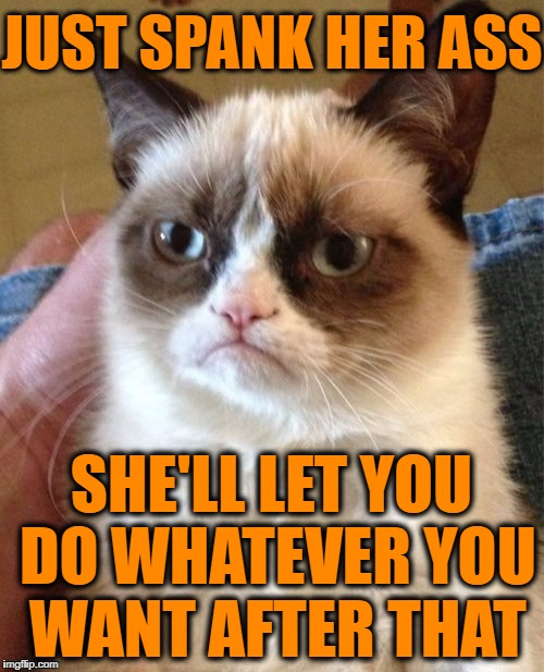 Grumpy Cat Meme | JUST SPANK HER ASS SHE'LL LET YOU DO WHATEVER YOU WANT AFTER THAT | image tagged in memes,grumpy cat | made w/ Imgflip meme maker