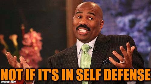 Steve Harvey Meme | NOT IF IT'S IN SELF DEFENSE | image tagged in memes,steve harvey | made w/ Imgflip meme maker