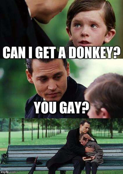 Finding Neverland Meme | CAN I GET A DONKEY? YOU GAY? | image tagged in memes,finding neverland | made w/ Imgflip meme maker