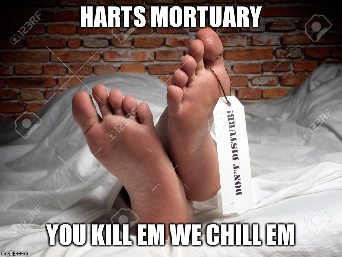My great granddaddy would answer the phone like this...inspired by rpc1 meme |  HARTS MORTUARY; YOU KILL EM WE CHILL EM | image tagged in tag,death,funeral,dark humor | made w/ Imgflip meme maker