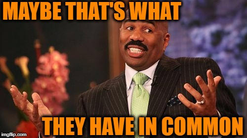Steve Harvey Meme | MAYBE THAT'S WHAT THEY HAVE IN COMMON | image tagged in memes,steve harvey | made w/ Imgflip meme maker