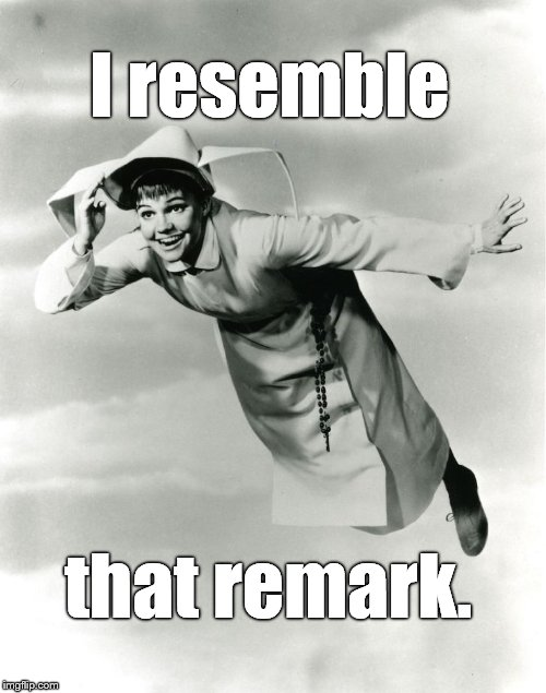 The Flying Nun | I resemble that remark. | image tagged in the flying nun | made w/ Imgflip meme maker