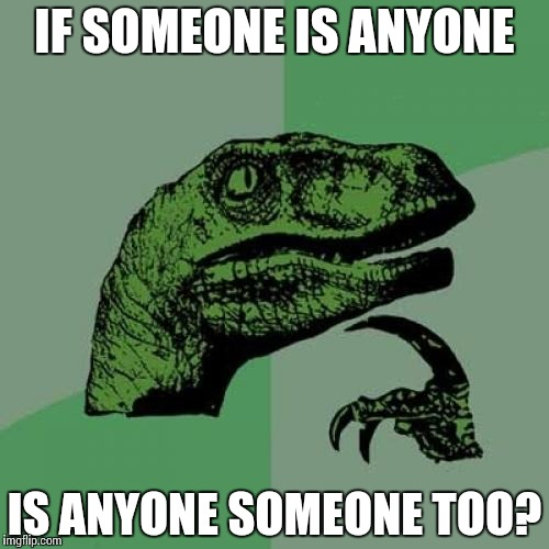 Philosoraptor Meme | IF SOMEONE IS ANYONE IS ANYONE SOMEONE TOO? | image tagged in memes,philosoraptor | made w/ Imgflip meme maker