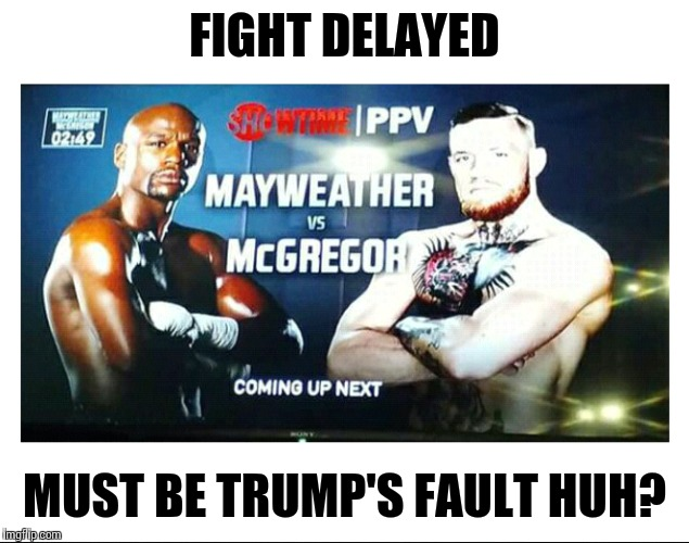 Gotta blame someone |  FIGHT DELAYED; MUST BE TRUMP'S FAULT HUH? | image tagged in mayweather,conor mcgregor,trump,memes | made w/ Imgflip meme maker