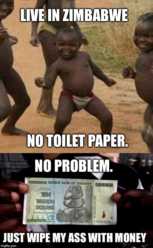 In 2015 this bill was worth 4 cents US. Couldn't be much better now. | LIVE IN ZIMBABWE JUST WIPE MY ASS WITH MONEY NO TOILET PAPER. NO PROBLEM. | image tagged in african,toilet paper,money,africa,third world success kid | made w/ Imgflip meme maker