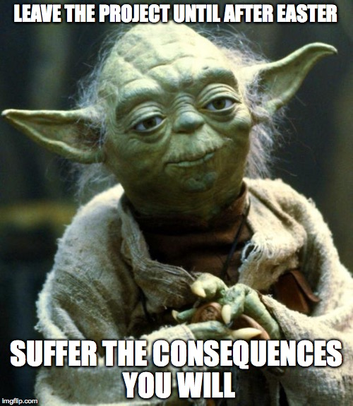 Star Wars Yoda Meme | LEAVE THE PROJECT UNTIL AFTER EASTER SUFFER THE CONSEQUENCES YOU WILL | image tagged in memes,star wars yoda | made w/ Imgflip meme maker
