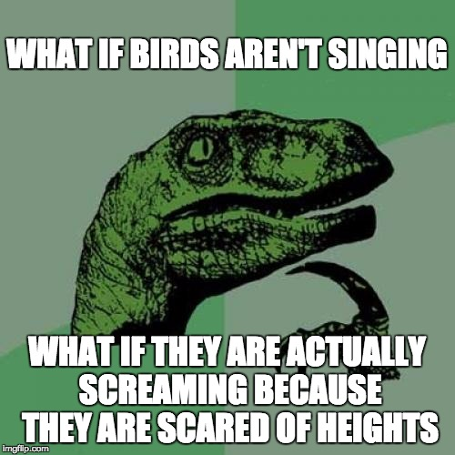 Philosoraptor Meme | WHAT IF BIRDS AREN'T SINGING WHAT IF THEY ARE ACTUALLY SCREAMING BECAUSE THEY ARE SCARED OF HEIGHTS | image tagged in memes,philosoraptor | made w/ Imgflip meme maker