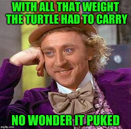 Creepy Condescending Wonka Meme | WITH ALL THAT WEIGHT THE TURTLE HAD TO CARRY NO WONDER IT PUKED | image tagged in memes,creepy condescending wonka | made w/ Imgflip meme maker