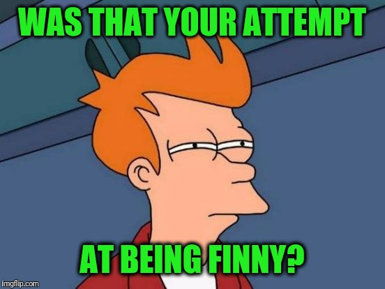 Futurama Fry Meme | WAS THAT YOUR ATTEMPT AT BEING FINNY? | image tagged in memes,futurama fry | made w/ Imgflip meme maker