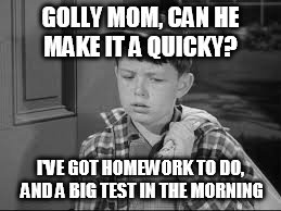 GOLLY MOM, CAN HE MAKE IT A QUICKY? I'VE GOT HOMEWORK TO DO, AND A BIG TEST IN THE MORNING | made w/ Imgflip meme maker