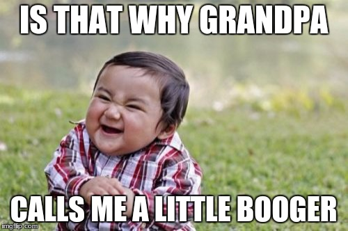 Evil Toddler Meme | IS THAT WHY GRANDPA CALLS ME A LITTLE BOOGER | image tagged in memes,evil toddler | made w/ Imgflip meme maker