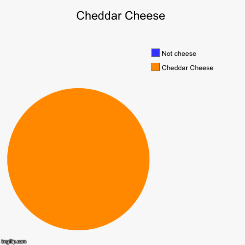 Cheddar Cheese | Cheddar Cheese , Not cheese | image tagged in funny,pie charts | made w/ Imgflip pie chart maker