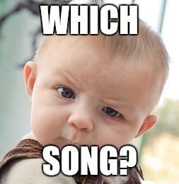 Skeptical Baby Meme | WHICH SONG? | image tagged in memes,skeptical baby | made w/ Imgflip meme maker