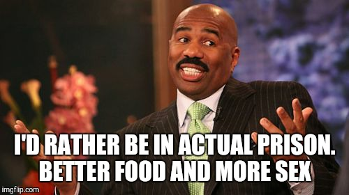 Steve Harvey Meme | I'D RATHER BE IN ACTUAL PRISON. BETTER FOOD AND MORE SEX | image tagged in memes,steve harvey | made w/ Imgflip meme maker