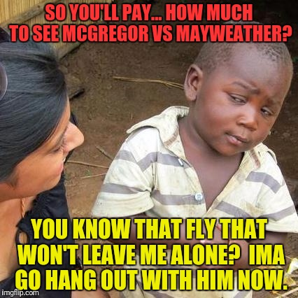Third World Skeptical Kid Meme | SO YOU'LL PAY... HOW MUCH TO SEE MCGREGOR VS MAYWEATHER? YOU KNOW THAT FLY THAT WON'T LEAVE ME ALONE?  IMA GO HANG OUT WITH HIM NOW. | image tagged in memes,third world skeptical kid | made w/ Imgflip meme maker