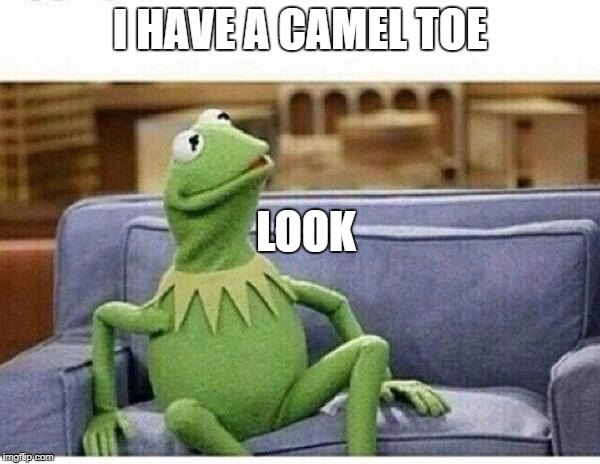 KERMIT | I HAVE A CAMEL TOE LOOK | image tagged in kermit | made w/ Imgflip meme maker
