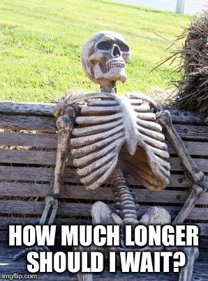 Waiting Skeleton Meme | HOW MUCH LONGER SHOULD I WAIT? | image tagged in memes,waiting skeleton | made w/ Imgflip meme maker
