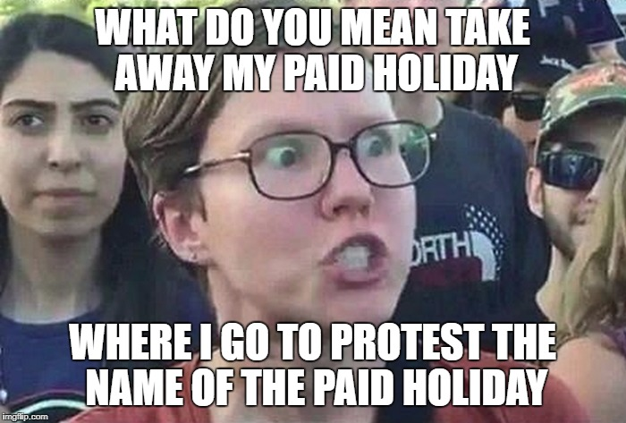 Don't like Christopher Columbus? But like Columbus holiday? | WHAT DO YOU MEAN TAKE AWAY MY PAID HOLIDAY WHERE I GO TO PROTEST THE NAME OF THE PAID HOLIDAY | image tagged in triggered liberal,memes,triggered,columbus day | made w/ Imgflip meme maker