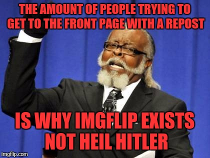 Heil Grammar Acceptable. | THE AMOUNT OF PEOPLE TRYING TO GET TO THE FRONT PAGE WITH A REPOST IS WHY IMGFLIP EXISTS NOT HEIL HITLER | image tagged in memes,too damn high,grammar nazi,political,repost,front page | made w/ Imgflip meme maker
