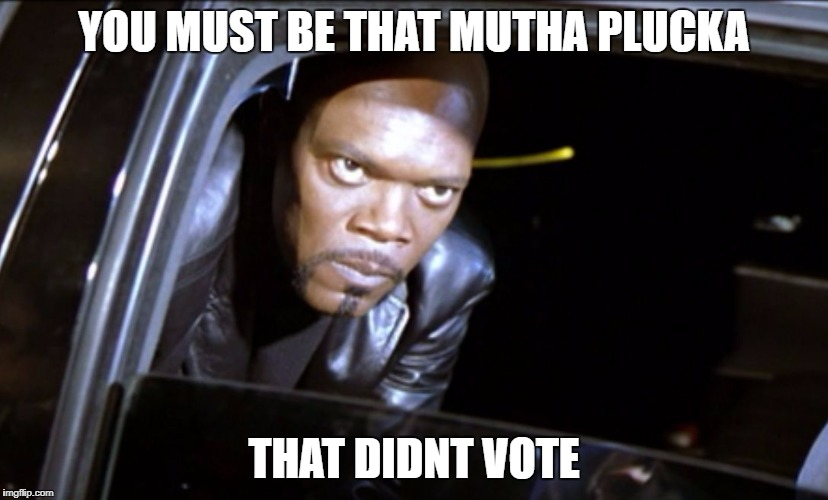 YOU MUST BE THAT MUTHA PLUCKA THAT DIDNT VOTE | image tagged in samuel l eyes | made w/ Imgflip meme maker