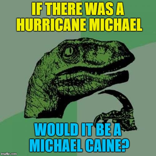 Philosoraptor Meme | IF THERE WAS A HURRICANE MICHAEL WOULD IT BE A MICHAEL CAINE? | image tagged in memes,philosoraptor | made w/ Imgflip meme maker