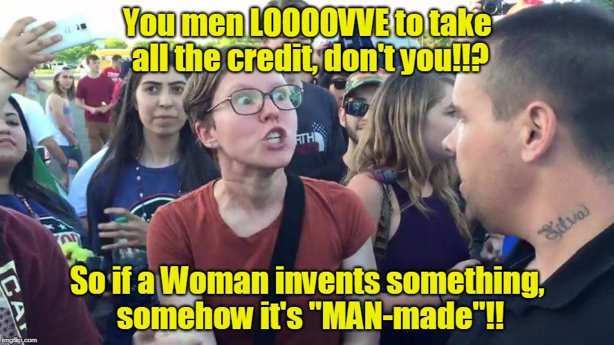"Triggered Feminazi: Define the word ""man-made"" 
