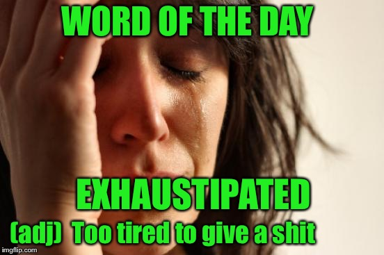 Word of the Day | EXHAUSTIPATED (adj)  Too tired to give a shit WORD OF THE DAY | image tagged in memes,first world problems,exhaustipated,repost | made w/ Imgflip meme maker