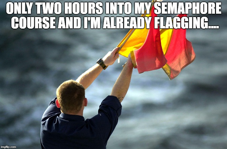 ONLY TWO HOURS INTO MY SEMAPHORE COURSE AND I'M ALREADY FLAGGING.... | image tagged in flag | made w/ Imgflip meme maker