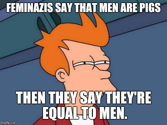I think I found a loophole. | FEMINAZIS SAY THAT MEN ARE PIGS THEN THEY SAY THEY'RE EQUAL TO MEN. | image tagged in memes,futurama fry | made w/ Imgflip meme maker