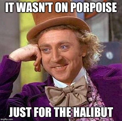 Creepy Condescending Wonka Meme | IT WASN'T ON PORPOISE JUST FOR THE HALIBUT | image tagged in memes,creepy condescending wonka | made w/ Imgflip meme maker