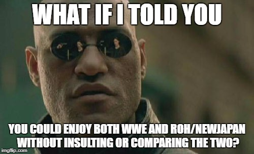 Matrix Morpheus Meme | WHAT IF I TOLD YOU YOU COULD ENJOY BOTH WWE AND ROH/NEWJAPAN WITHOUT INSULTING OR COMPARING THE TWO? | image tagged in memes,matrix morpheus | made w/ Imgflip meme maker