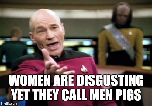 Picard Wtf Meme | WOMEN ARE DISGUSTING YET THEY CALL MEN PIGS | image tagged in memes,picard wtf | made w/ Imgflip meme maker