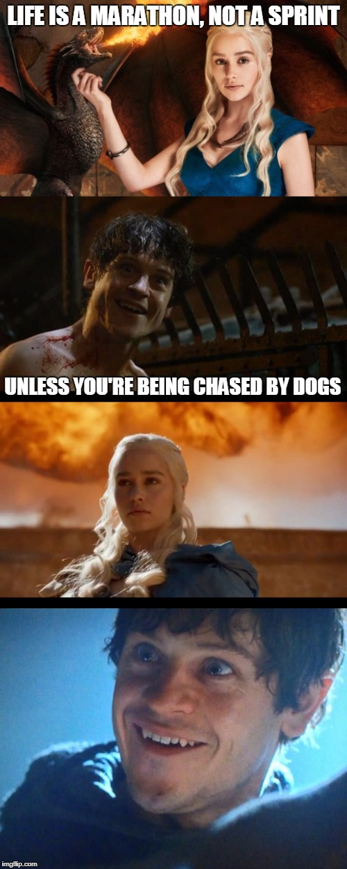 Or bears. | LIFE IS A MARATHON, NOT A SPRINT UNLESS YOU'RE BEING CHASED BY DOGS | image tagged in game of thrones,daenerys targaryen,ramsey,funny memes | made w/ Imgflip meme maker