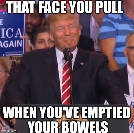 THAT FACE YOU PULL WHEN YOU'VE EMPTIED YOUR BOWELS | image tagged in relief,trump,happy | made w/ Imgflip meme maker