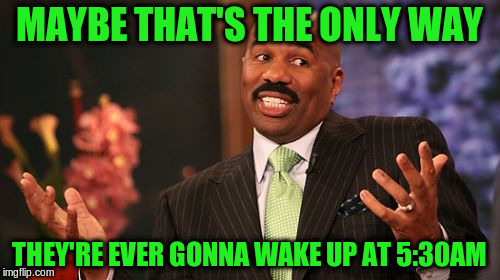 Steve Harvey Meme | MAYBE THAT'S THE ONLY WAY THEY'RE EVER GONNA WAKE UP AT 5:30AM | image tagged in memes,steve harvey | made w/ Imgflip meme maker