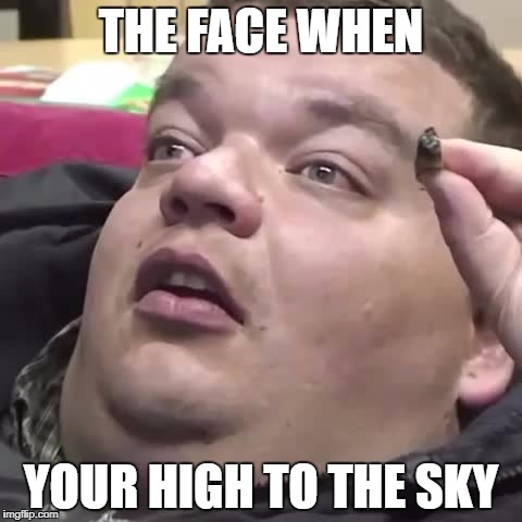 High to the sky | THE FACE WHEN YOUR HIGH TO THE SKY | image tagged in stairway to heaven | made w/ Imgflip meme maker