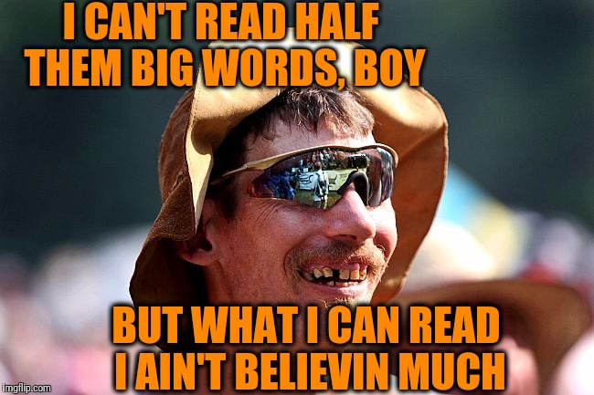 redneck | I CAN'T READ HALF THEM BIG WORDS, BOY BUT WHAT I CAN READ I AIN'T BELIEVIN MUCH | image tagged in redneck | made w/ Imgflip meme maker