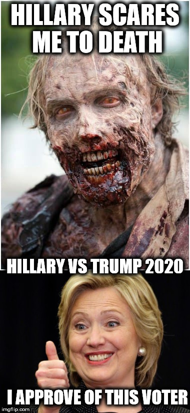 Another Democrat Voter | HILLARY SCARES ME TO DEATH HILLARY VS TRUMP 2020 I APPROVE OF THIS VOTER | image tagged in voter fraud,hillary clinton 2020 | made w/ Imgflip meme maker