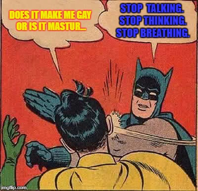 Batman Slapping Robin Meme | DOES IT MAKE ME GAY OR IS IT MASTUR... STOP  TALKING. STOP THINKING. STOP BREATHING. | image tagged in memes,batman slapping robin | made w/ Imgflip meme maker