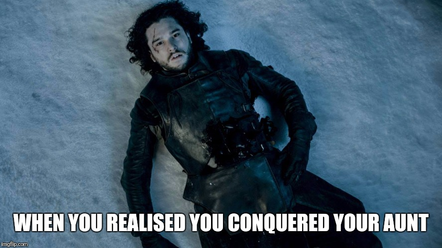 WHEN YOU REALISED YOU CONQUERED YOUR AUNT | image tagged in got,game of thrones | made w/ Imgflip meme maker