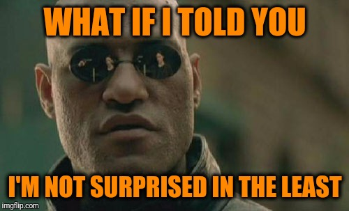 Matrix Morpheus Meme | WHAT IF I TOLD YOU I'M NOT SURPRISED IN THE LEAST | image tagged in memes,matrix morpheus | made w/ Imgflip meme maker