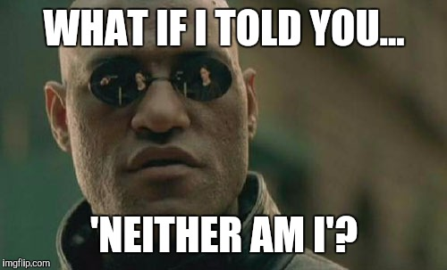 Matrix Morpheus Meme | WHAT IF I TOLD YOU... 'NEITHER AM I'? | image tagged in memes,matrix morpheus | made w/ Imgflip meme maker