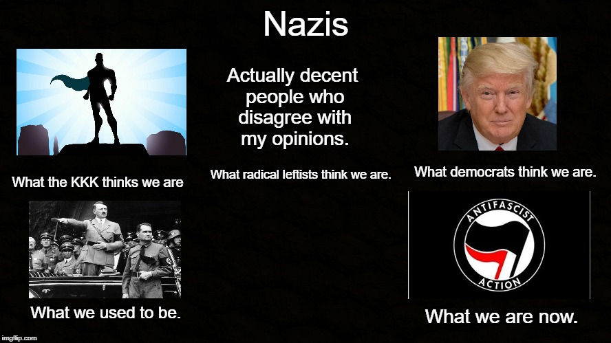 Nazis | Nazis Actually decent people who disagree with my opinions. What the KKK thinks we are What radical leftists think we are. What democrats th | image tagged in nazis,donald trump,antifa,memes,what i really do | made w/ Imgflip meme maker