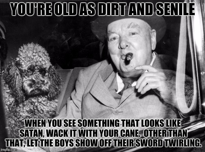 YOU'RE OLD AS DIRT AND SENILE WHEN YOU SEE SOMETHING THAT LOOKS LIKE SATAN, WACK IT WITH YOUR CANE.  OTHER THAN THAT, LET THE BOYS SHOW OFF  | made w/ Imgflip meme maker