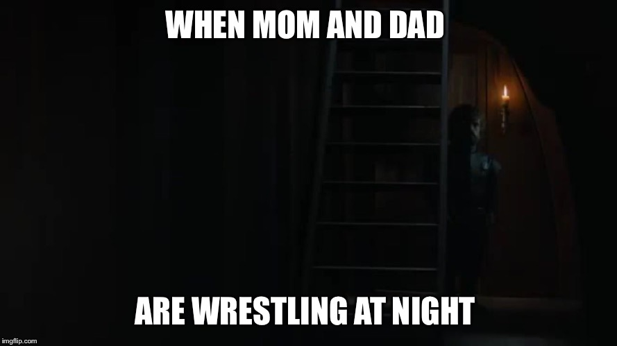WHEN MOM AND DAD ARE WRESTLING AT NIGHT | image tagged in aunt teaches nephew-bwd | made w/ Imgflip meme maker