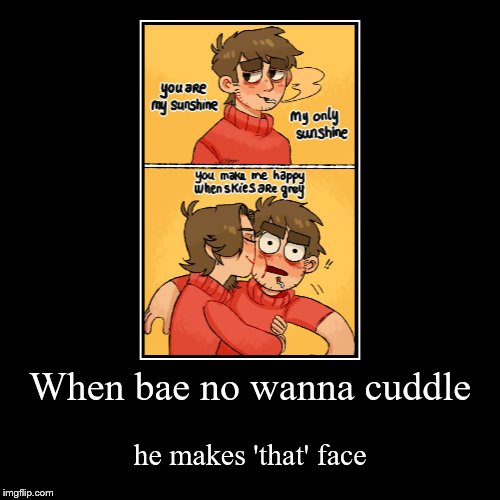 When bae no wanna cuddle | he makes 'that' face | image tagged in funny,demotivationals | made w/ Imgflip demotivational maker