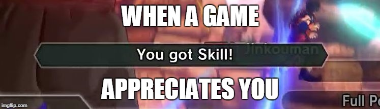You got skill | WHEN A GAME APPRECIATES YOU | image tagged in you got skill | made w/ Imgflip meme maker