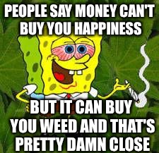 Weed | PEOPLE SAY MONEY CAN'T BUY YOU HAPPINESS BUT IT CAN BUY YOU WEED AND THAT'S PRETTY DAMN CLOSE | image tagged in weed | made w/ Imgflip meme maker