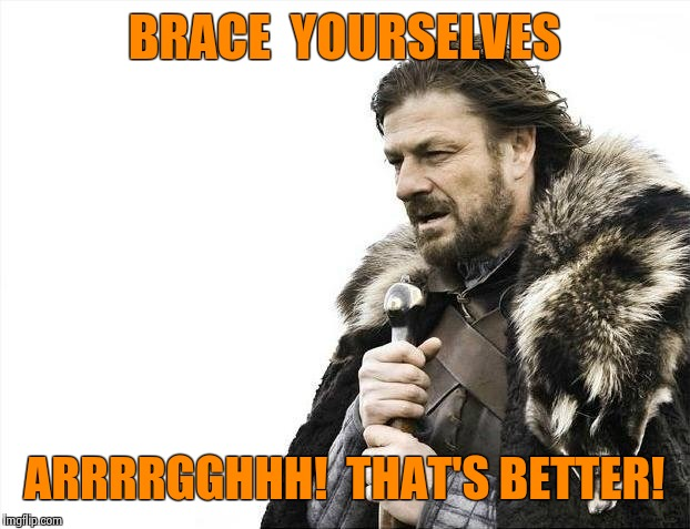 Brace Yourselves X is Coming Meme | BRACE  YOURSELVES ARRRRGGHHH!  THAT'S BETTER! | image tagged in memes,brace yourselves x is coming | made w/ Imgflip meme maker